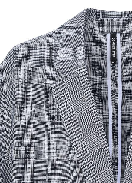 Linen Blend Check Double Jacket