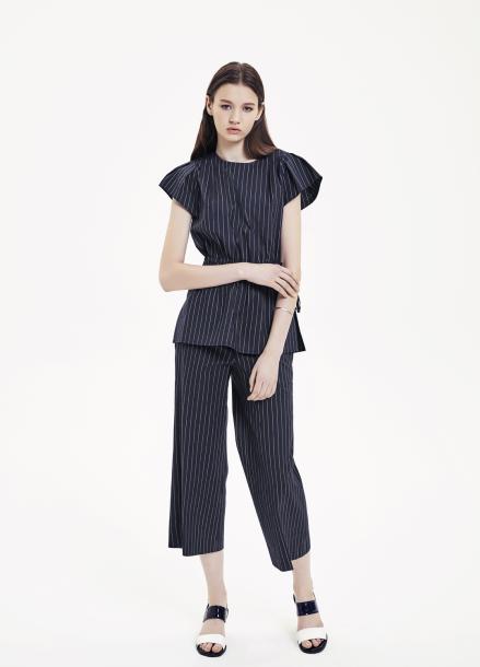 Stripe Drawstring Waist Blouse