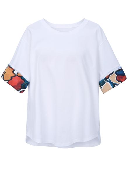 Flower Sleeve Trimming T-Shirt