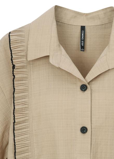 Pleats Detail Linen Dress