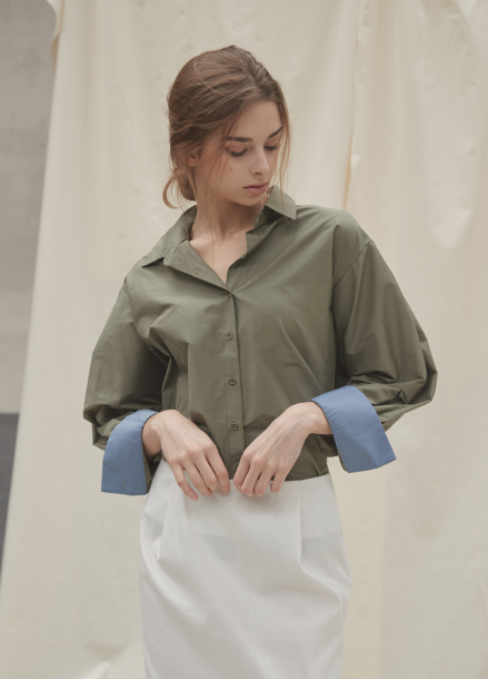 [YouNess/신상10%] Volume Khaki Shirt