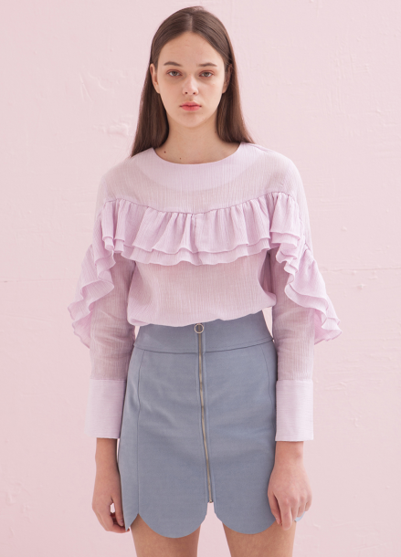 [ADDSENSE/50%SALE] TWO FRILL BLOUSE_PINK