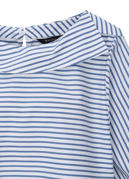 Boat Neck Stripe Pattern Blouse