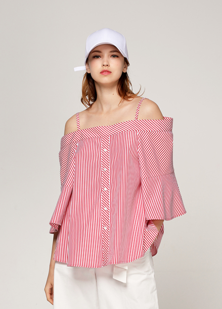 [PINBLACK/20%SALE] stripe two-way off shouder blouse red