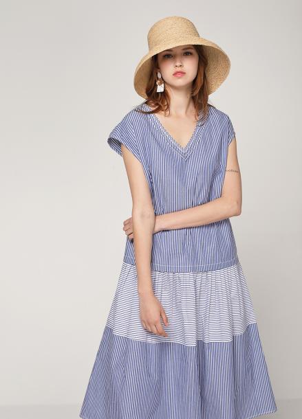 pinblack contrust stripe cotton dress
