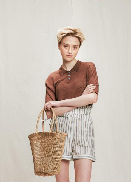[URAGO]linen collar knit
