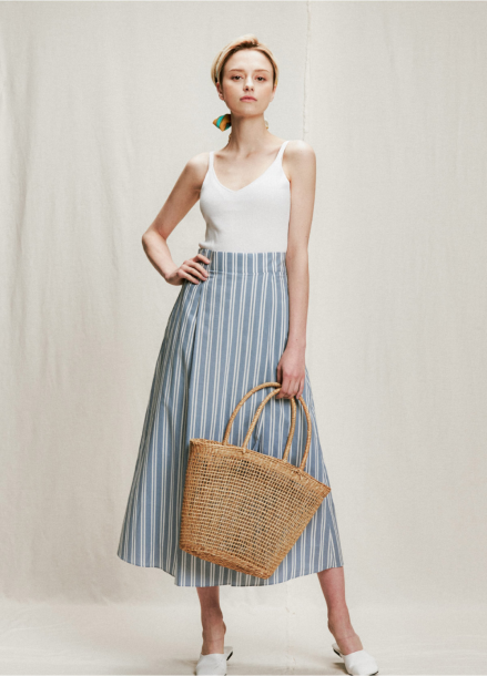 [05/31까지 5%할인+5%쿠폰]stripe long skirt