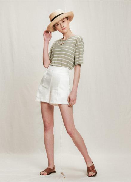 [URAGO]linen slit banding shorts