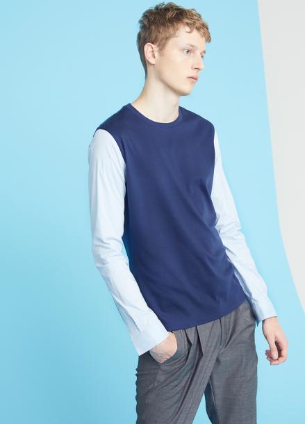 [MILLOGLEM/35%SALE]shirts sleeves t-shirts - navy