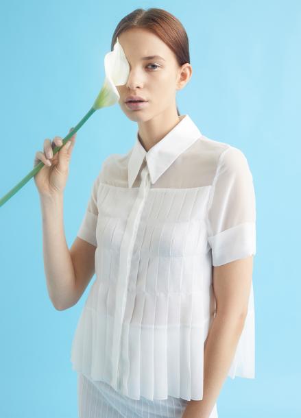 [MILLOGLEM/35%SALE]full pleats blouse - white