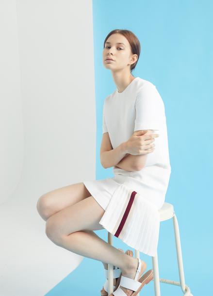 [MILLOGLEM/35%SALE]double pocket godet pleats dress - ivory