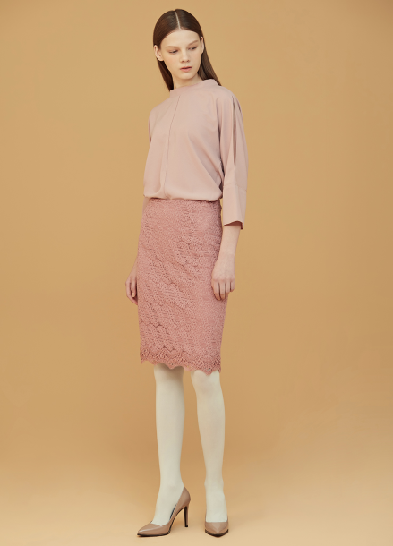 ◆ Lace Taping H-Line Skirt