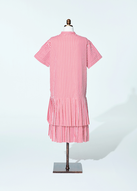 [AMELIE] half pleat prepy dress red