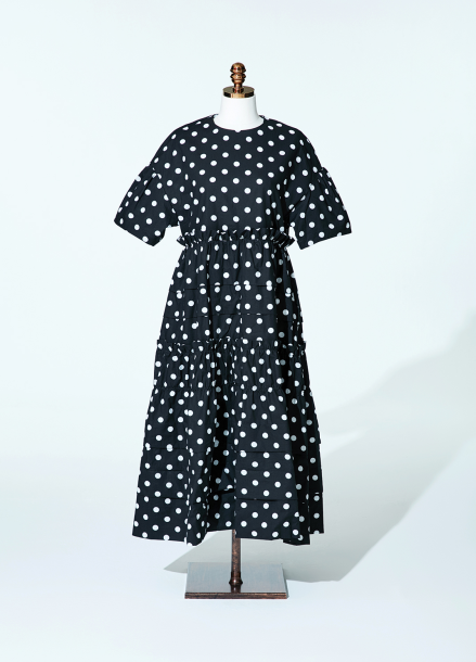 [AMELIE]Amelie half kangkang dot dress black