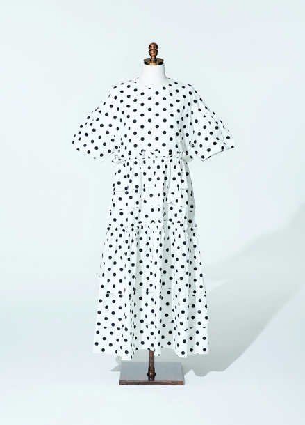 [AMELIE]Amelie half kangkang dot dress white