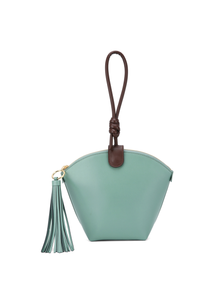 Tassle Leather Mini Clutch Bag