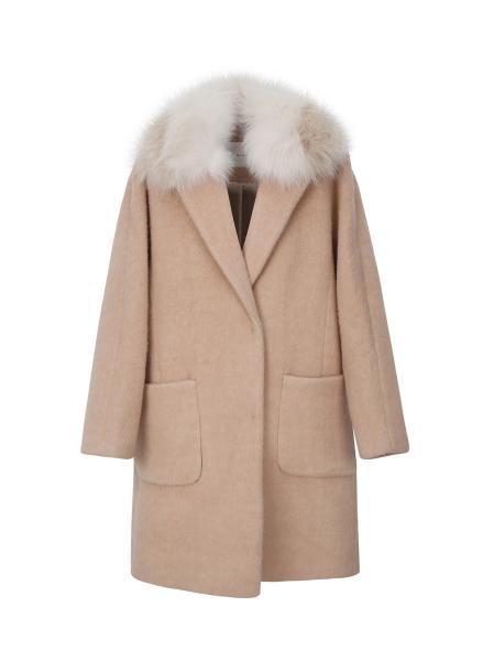 Loose-Fit Alpaca Blend Fox Fur Coat