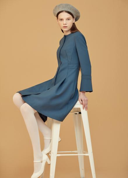◆ Round Neck Zip-Up A-Line Dress [예약판매/9월29일 입고예정]