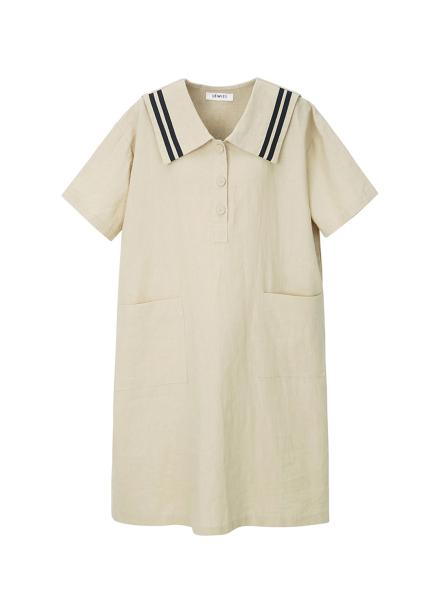 (주문폭주)★ Linen Blend Sailor Dress