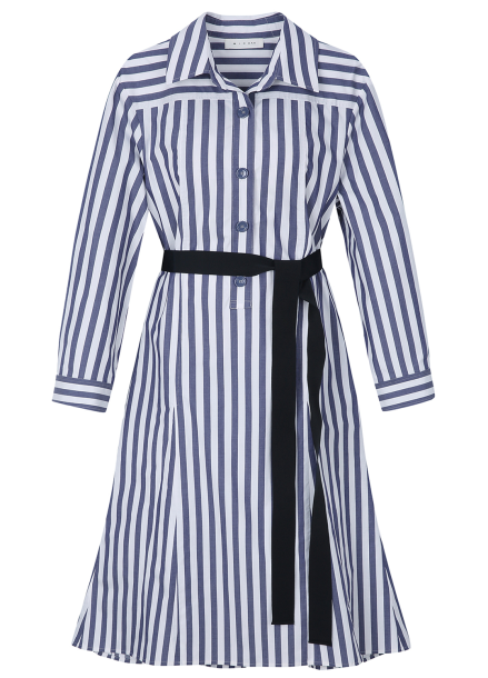 Stripe Shirts Belt Dress