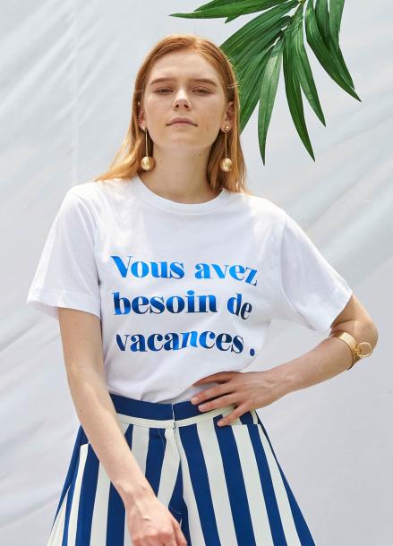 [SALON DE YOHN/20%SALE]Slogan T-Shirt_Blue