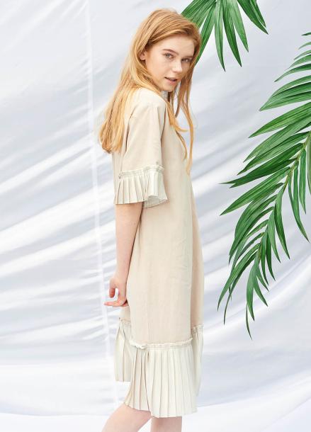 [SALON DE YOHN/40%SALE]Pleats Dress_Beige