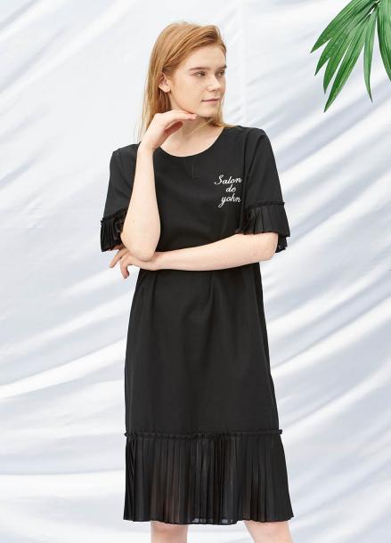 [SALON DE YOHN/40%SALE]Pleats Dress_Black