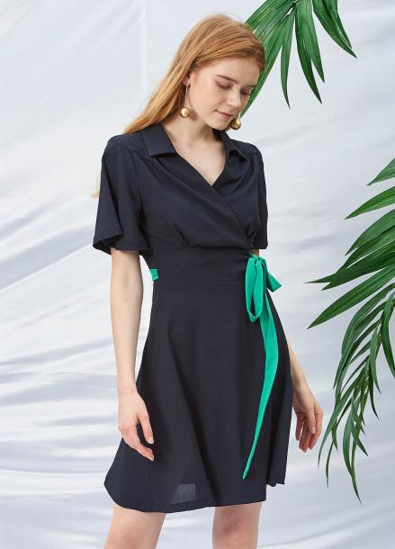 [SALON DE YOHN/20%SALE]Wrap Dress_Navy