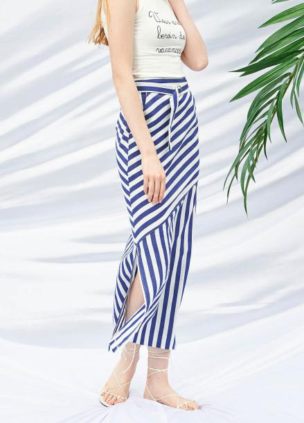[SALON DE YOHN/20%SALE]Belted Long Skirt_Stripe