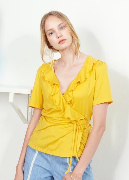 [VEMVER/10%]RUFFLE POINT WRAP TOP_YL