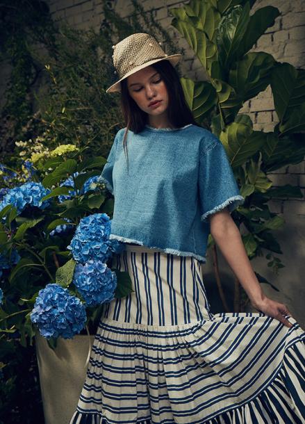 [LAFETE] Stripe cancan skirt (regular)