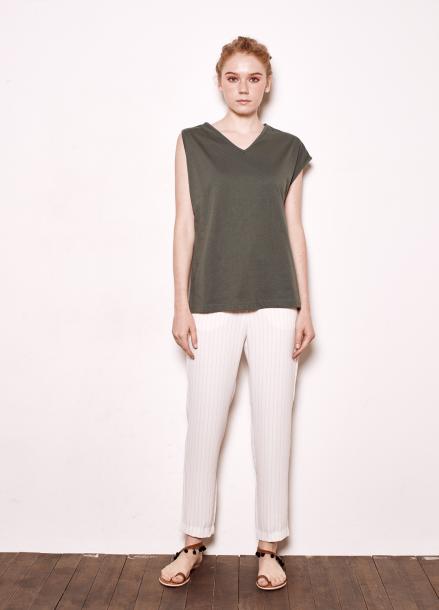 [The Kstory/단독10%SALE]Unbalanced sleeves T_green