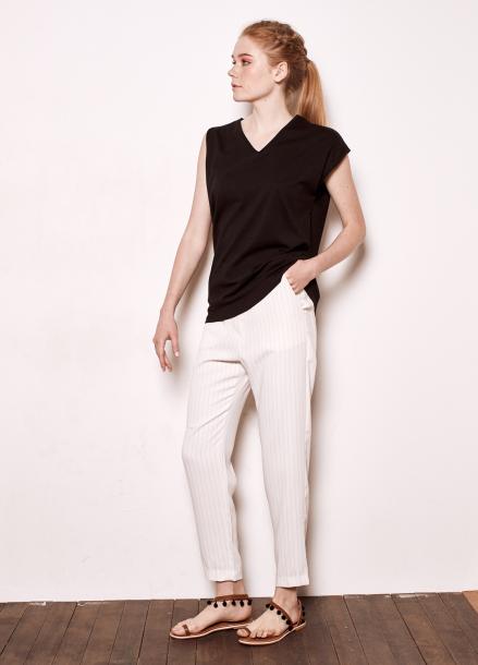 [The Kstory/단독10%SALE]Unbalanced sleeves T_black