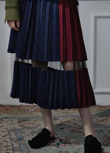 two-tone pleats skirt blue