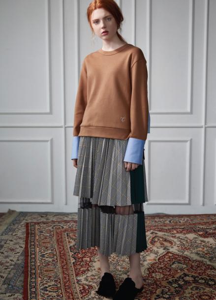 two-tone pleats skirt gray