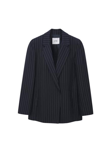 ◆ Pin Stripe Hidden Button Jacket