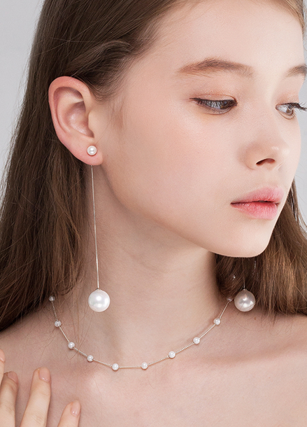 [TATIANA/SILVER 925/10%SALE] NOUVELLE WHITE ROSE POINT PEARL EARRING