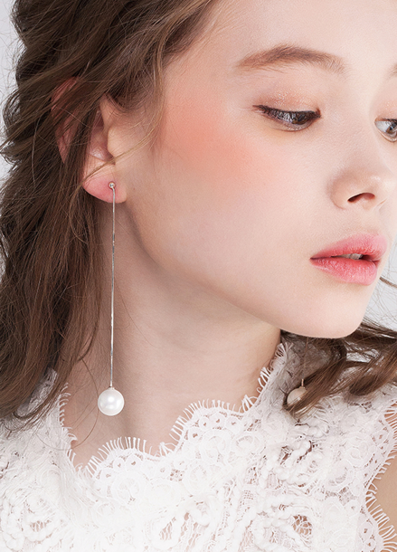 [TATIANA/SILVER 925/10%SALE] NOUVELLE ROSE BALL POINT PEARL EARRING