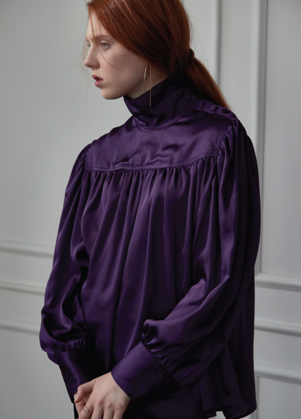 [CLUE DE CLARE]shirring blouse violet