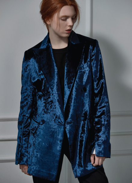 [CLUE DE CLARE]velvet double jacket navy