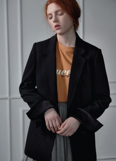 [CLUE DE CLARE/17FW시즌오프/10%SALE] cut-sewn jacket black