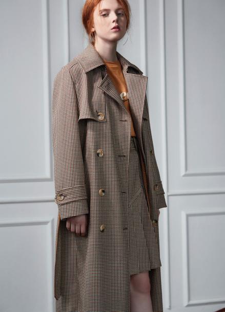 [CLUE DE CLARE/12월05일예약배송]check trench coat beige