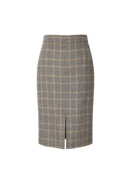 ◆ Glen Check Front Slit Skirt