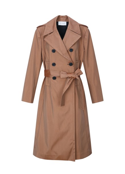 Double Button Slit Sleeve Trench Coat