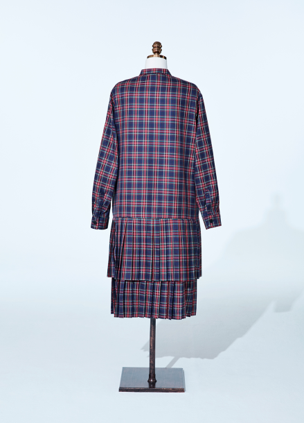 [NEW/AMELIE] BASEBALL NAVYCHECK PLEATS DRESS