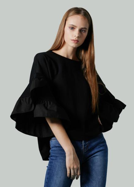 [저스트인스타일 / 단독특가 40%] 프릴 슬리브 티셔츠