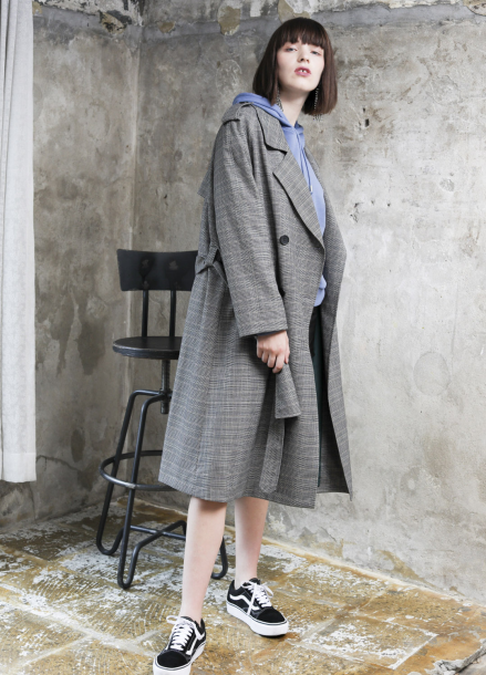 [PINBLACK/신상출시/10%+5%]doublecross check two-way Trench coat