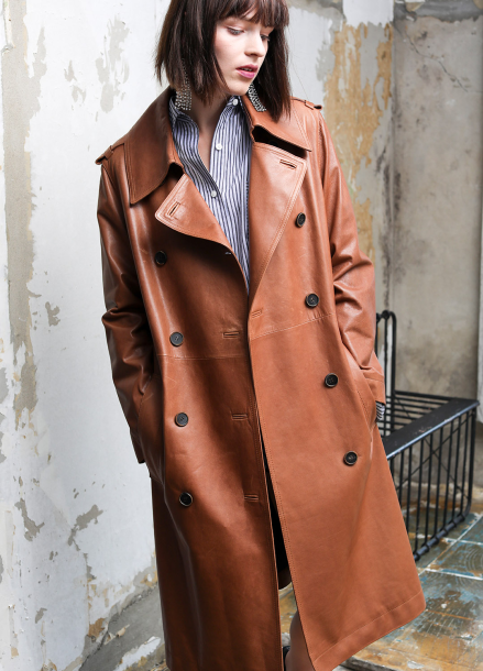 [PINBLACK]vegetable lamb skin over treach coat brown