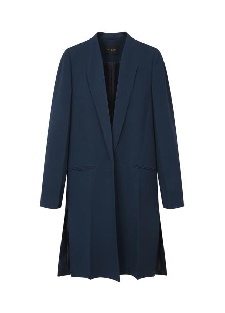 Side Slit Collar Detail Long Jacket