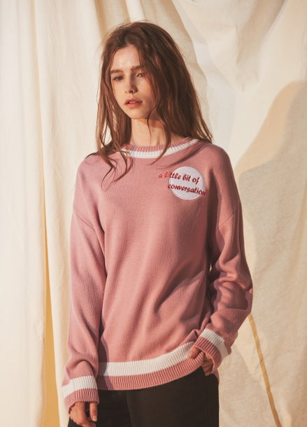[RYUL+WAI/20%SALE] PINK CONVERSATION PULLOVER KNIT
